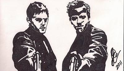 Poster featuring the drawing The Boondock Saints by Jeremiah Colley