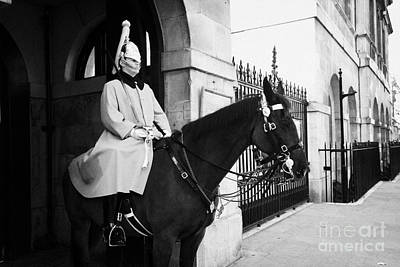 The Household Cavalry Life Guards On Guard Duty In Whitehall London England Uk United Kingdom Poster