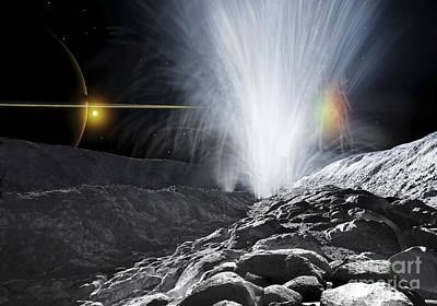 The Ice Fountains Of Enceladus Poster by Ron Miller