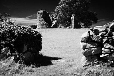 Thick Exterior Wall Around The Remains Of The 6th Century Monastic Site At Nendrum On Mahee Island Poster