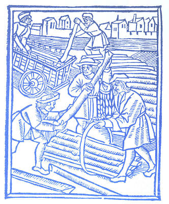 Timber Haulers, Medieval Tradesmen Poster by Science Source
