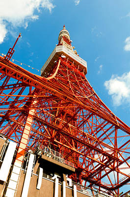 Tokyo Tower Face Cloudy Sky Poster