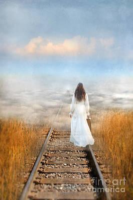 Train Tracks Into The Clouds Poster by Jill Battaglia