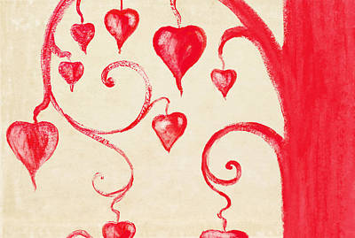 Tree Of Heart Painting On Paper Poster