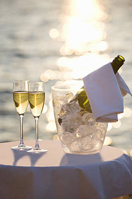 Two Glasses Of Champagne At Sunset Poster