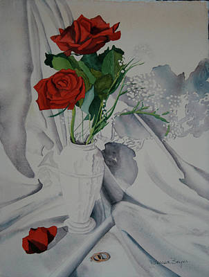 Poster featuring the painting Two Roses by Teresa Beyer