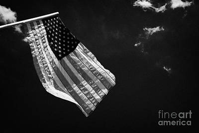 Us American Flag On Flagpole Against Blue Cloudy Sky Usa Poster