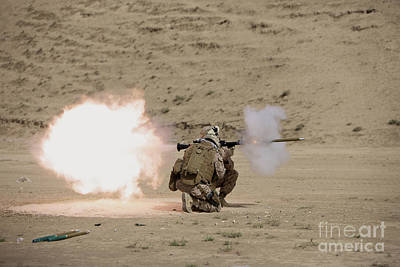 U.s. Marine Fires A Rpg-7 Grenade Poster by Terry Moore