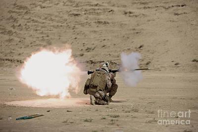 U.s. Marine Fires A Rpg-7 Grenade Poster