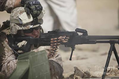 U.s. Marine Firing A Pk 7.62mm Machine Poster by Terry Moore