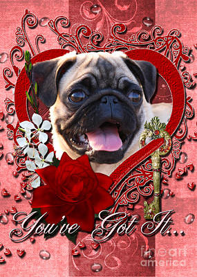 Valentines - Key To My Heart Pug Poster