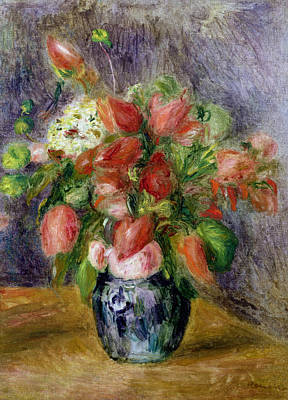 Vase Of Flowers Poster by Pierre Auguste Renoir