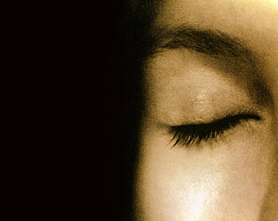 View Of A Woman's Closed Eye Poster