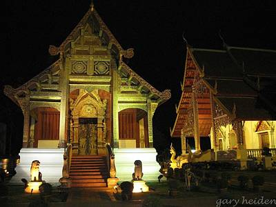 Wat Phra Sing At Night   Chiang Mai   Thailand Poster by Gary Heiden