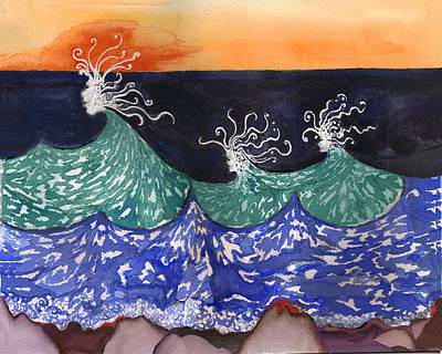 Wave Fairies Poster by Alexandra  Sanders