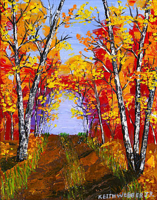 White Birch Tree Abstract Painting In Autumn Poster