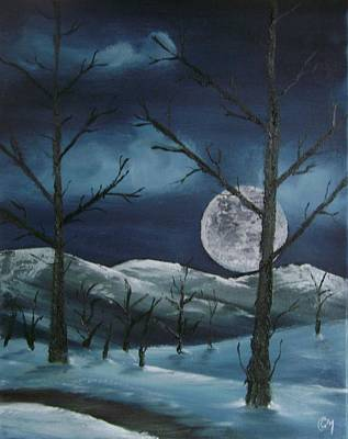Poster featuring the painting Winter Night by Charles and Melisa Morrison