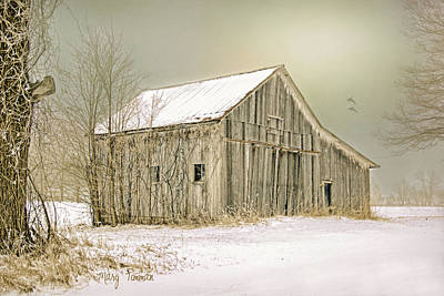 Poster featuring the photograph Winter's Barn by Mary Timman