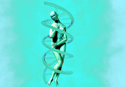 Woman And Dna Poster