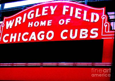 Wrigley Field Sign Ll Poster by Marsha Heiken