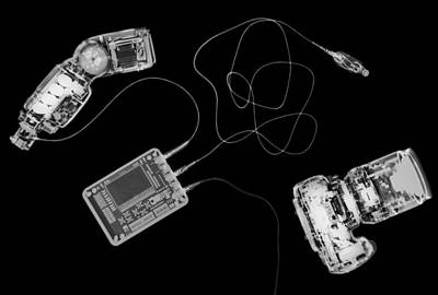 X-ray Of A Digital Camera And Ipod Poster by Photostock-israel