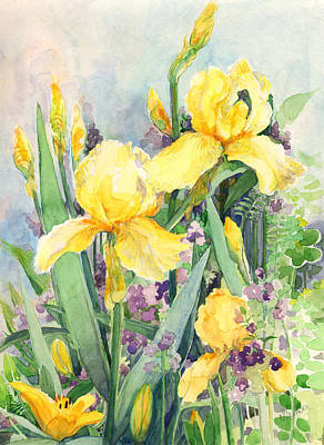 Poster featuring the painting Yellow Iris by Nancy Watson
