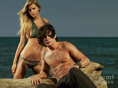 Young Beautiful Couple At The Beach Poster