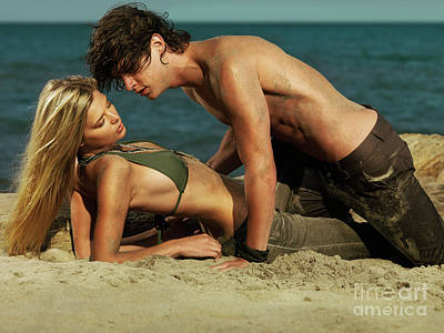 Young Couple On The Beach Poster