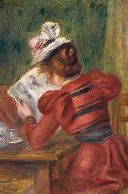 Young Girl Reading Poster by Pierre Auguste Renoir