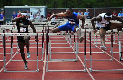 100 Meters Men's Hurdles Poster by Mike Martin