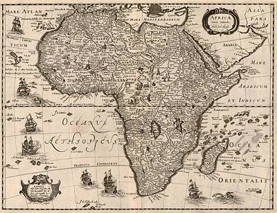 1640 Map Of Africa Showing Geographic Poster