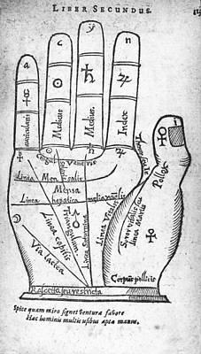 17th Century Palmistry Diagram Poster