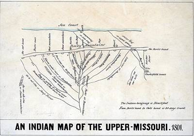 1801 Indian Map Of The Upper-missouri Poster by Everett