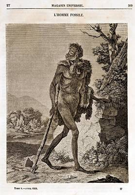 1838 Cave Man Engraving 'l'homme Fossile' Poster by Paul D Stewart