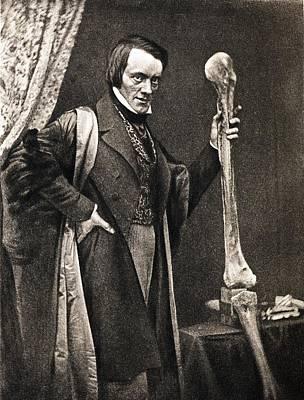 1846 Richard Owen And Moa Leg Fossil Poster by Paul D Stewart
