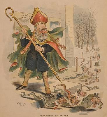 1895 Political Cartoon Of New York Poster by Everett