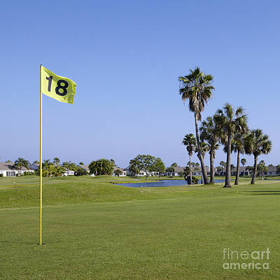 18th Hole On A Golf Course Poster by Skip Nall