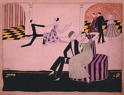 1915 John Held Cartoon Of Dancers Poster