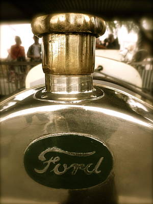 Poster featuring the photograph 1918 Ford Model T Indianapolis Hood Badge by John Colley