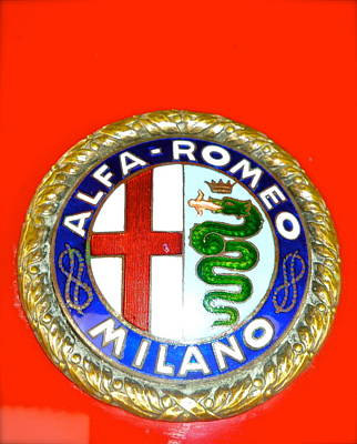 Poster featuring the photograph 1938 Alfa Romeo 308c Hood Badge by John Colley