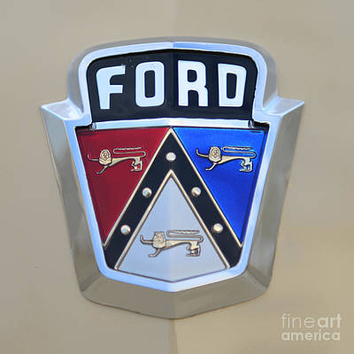 1954 Ford Customline Emblem Close Up Poster by Paul Ward