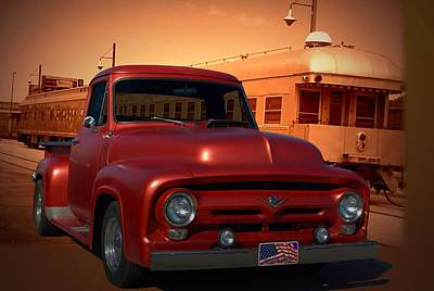 1955 Ford F100 Pickup With 56' Grill Poster