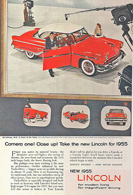 1955 Lincoln Poster by Georgia Fowler