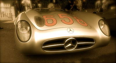 Poster featuring the photograph 1955 Mercedes Benz 300slr Fangio by John Colley
