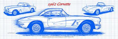 1962 Corvette Blueprint Poster by K Scott Teeters