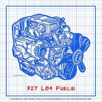 1963 - 1965 L84 327 Corvette Fuelie Engine Blueprint Poster