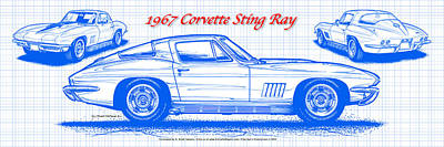 1967 Corvette Sting Ray Coupe Blueprint Poster by K Scott Teeters