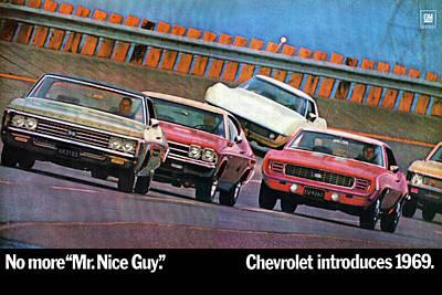 1969 Chevrolet Impala Chevelle Camaro Corvette And Nova Poster by Digital Repro Depot