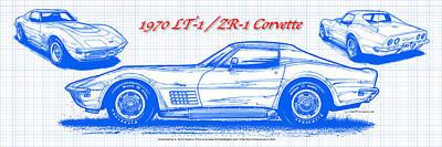 1970 Lt-1 And Zr-1 Corvette Blueprint Poster by K Scott Teeters