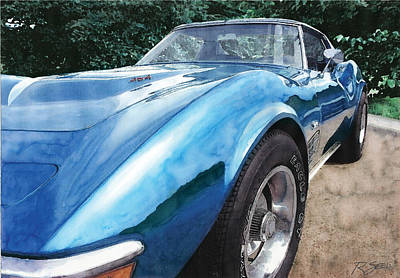 Poster featuring the painting 1972 Blue Corvette Stingray by Rod Seel